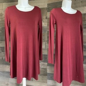 Burgundy Knit Swing Dress